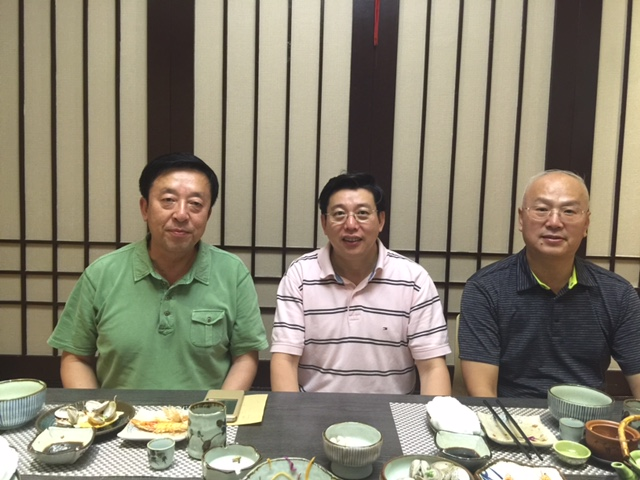 With Wang, Zhihong, President of Changchun University of Traditional Chinese Medicine, and Wang, Fuchun, Dean of College of Acupuncture Orthopedics in a Japanese Restaurant on August 23, 2015
